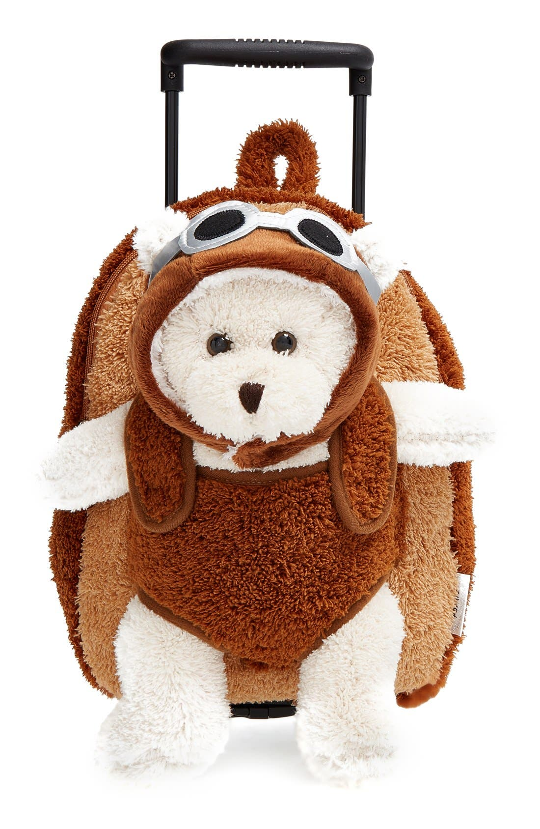 'Aviator Bear' Rolling Backpack,                         Main,                         color, Brown