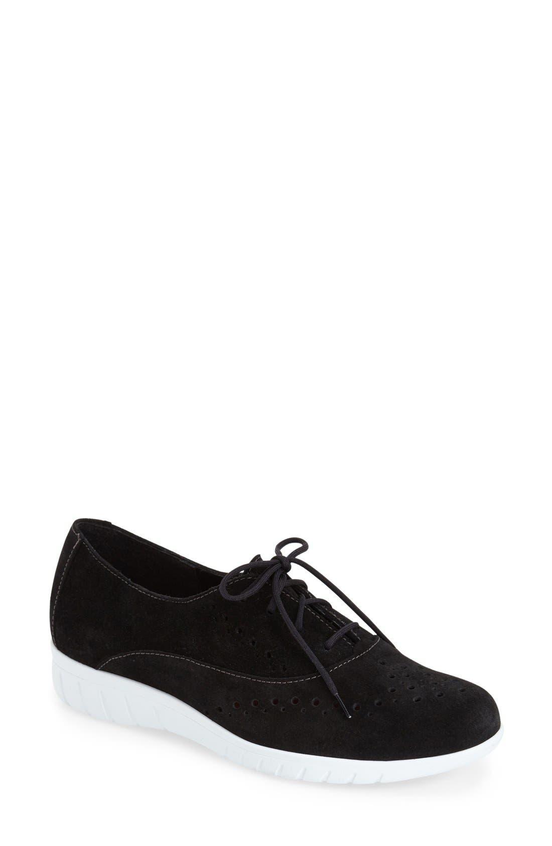 'Wellesley' Oxford Sneaker,                             Main thumbnail 1, color,                             Black Suede