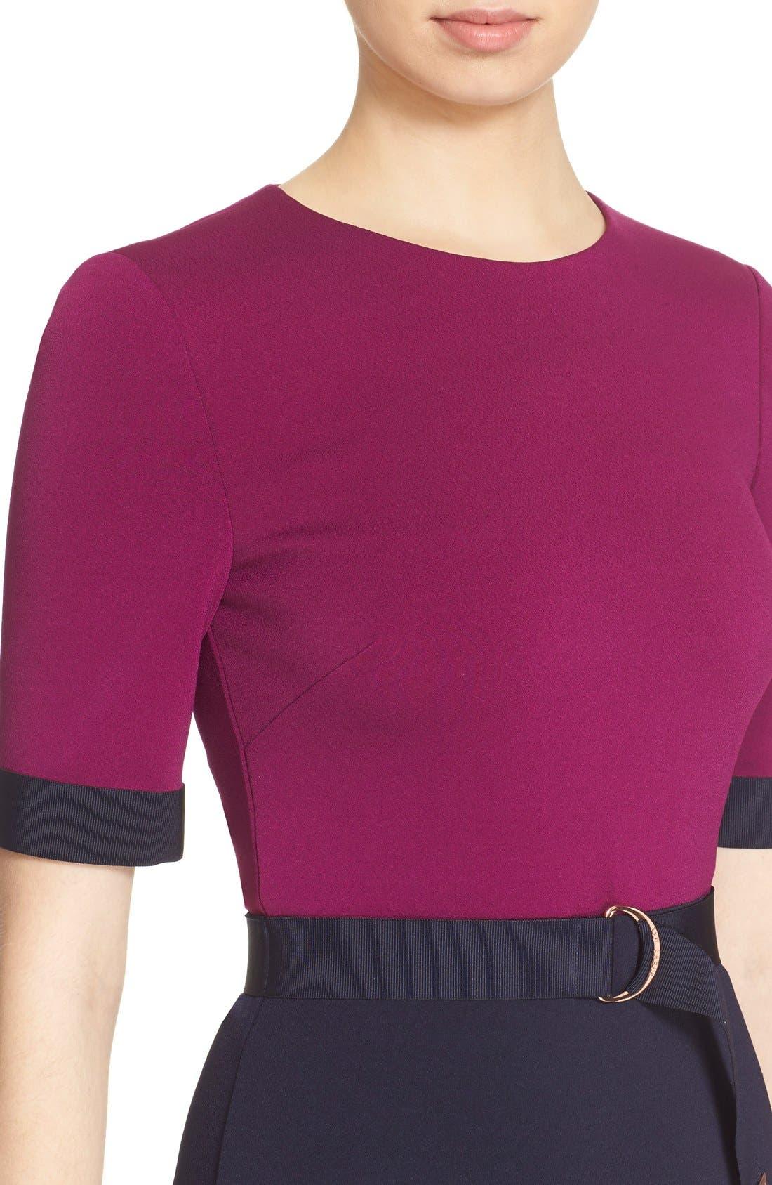 Alternate Image 4  - Ted Baker London 'Wandee' Colorblock D-Ring Sheath Dress