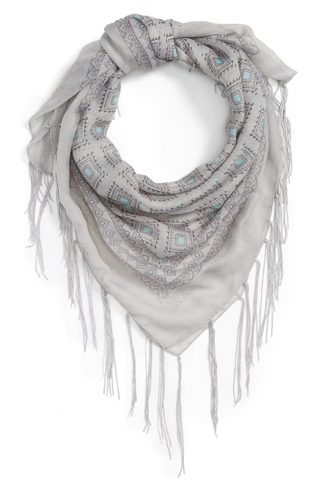 Main Image - BP. Geo Diamond Fringe Square Scarf