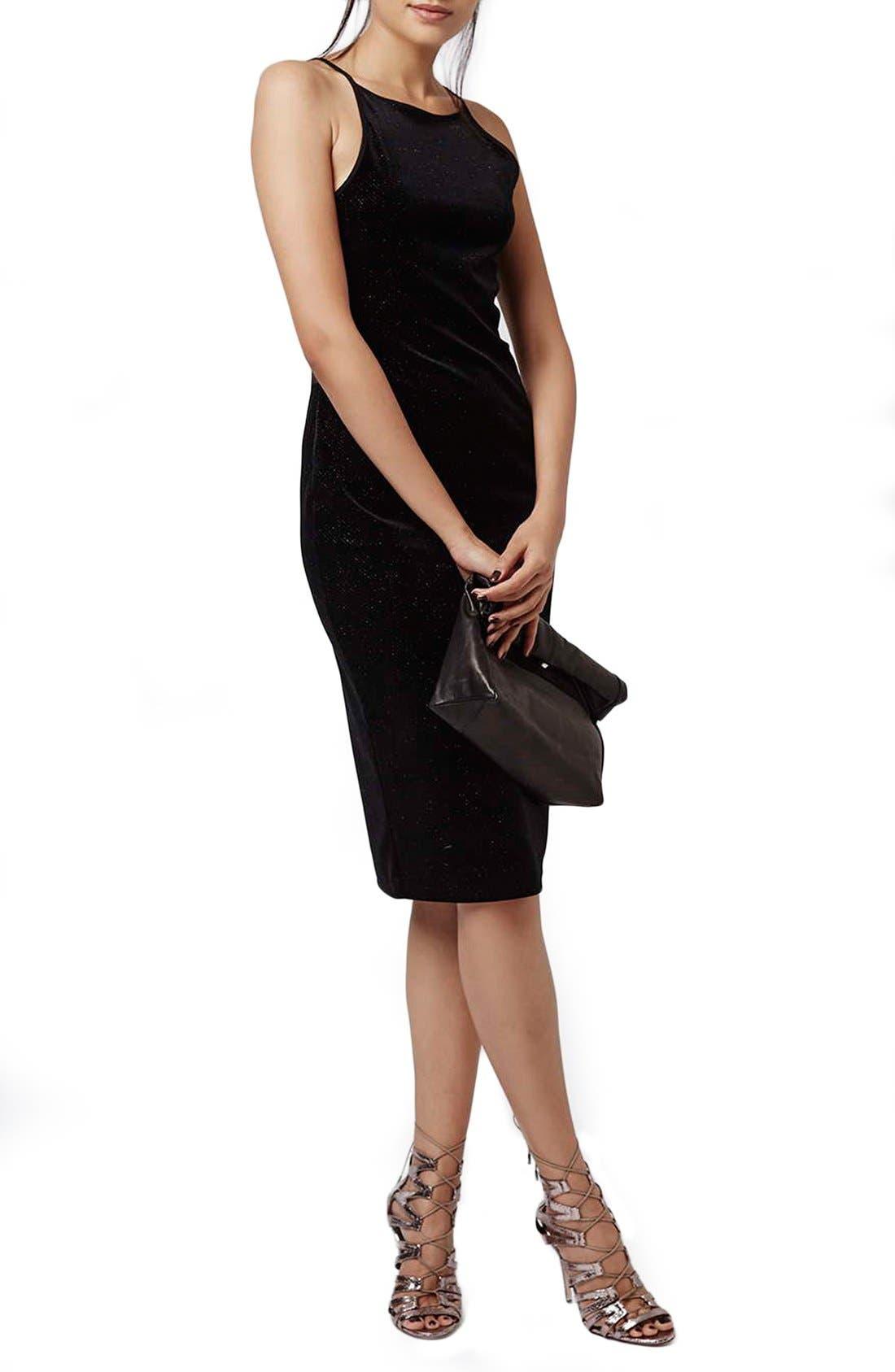 Main Image - Topshop Velvet & Glitter Body-Con Midi Dress