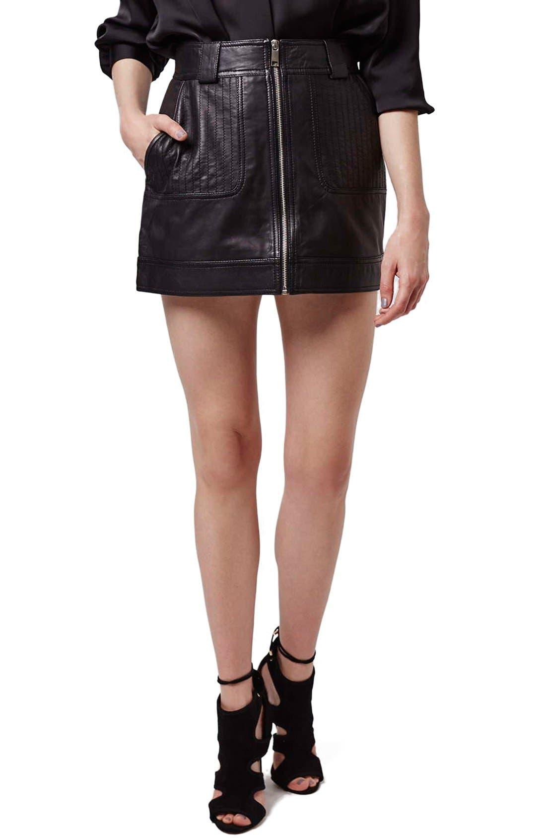 Alternate Image 1 Selected - Topshop Uber Leather Miniskirt