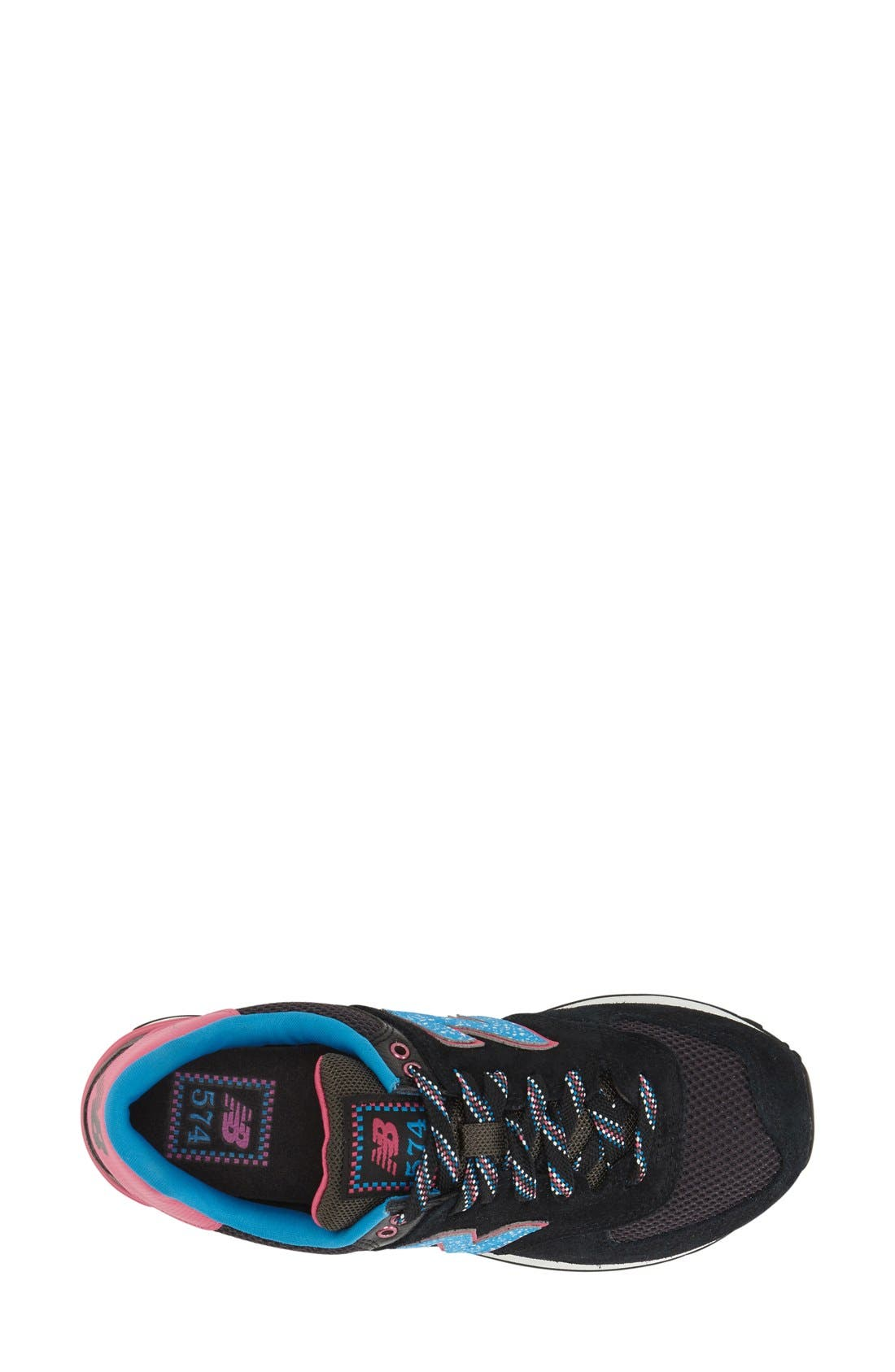 '574' Sneaker,                             Alternate thumbnail 3, color,                             Black/ Blue