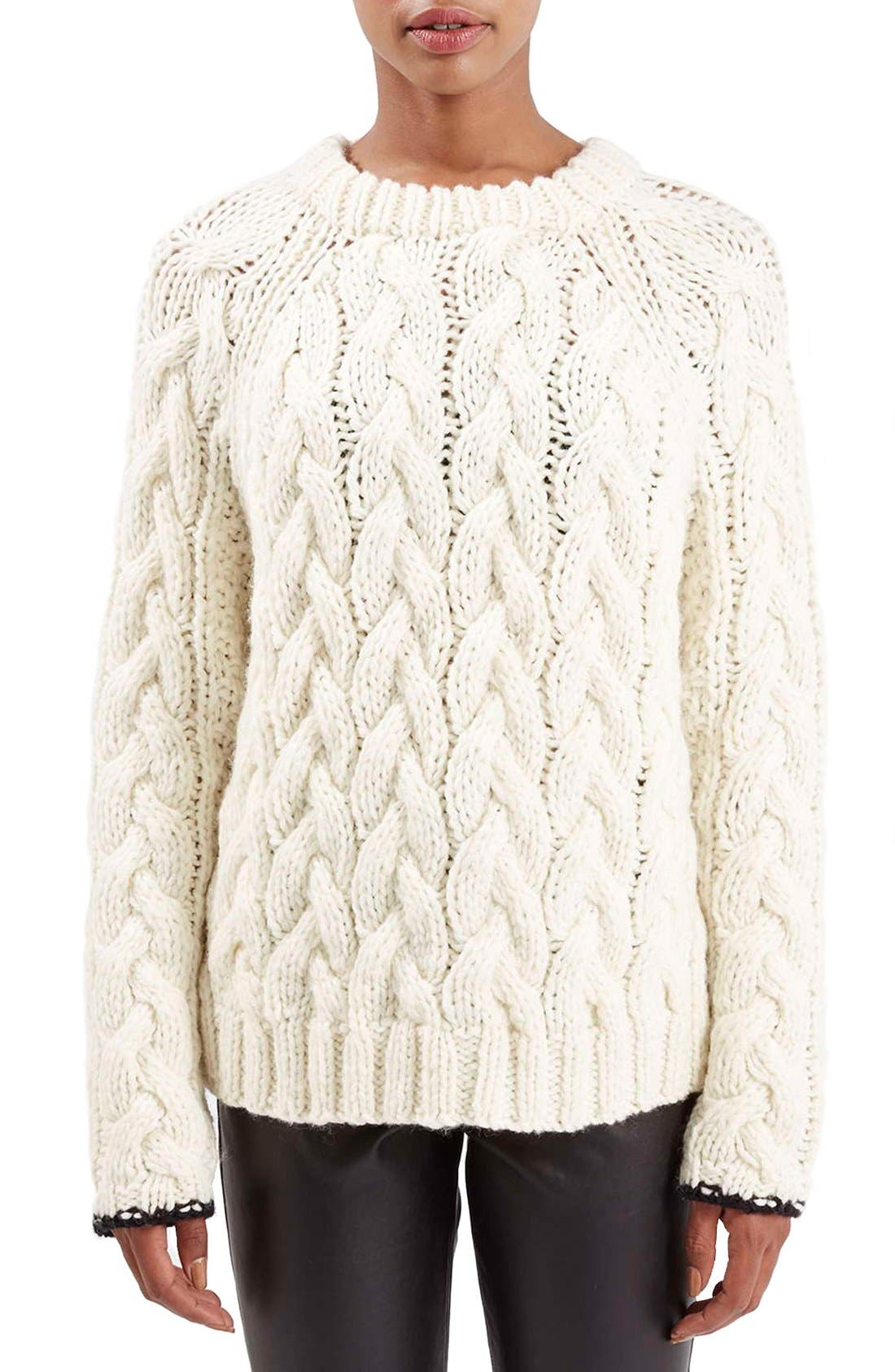Main Image - Topshop Boutique Chunky Cable Knit Sweater