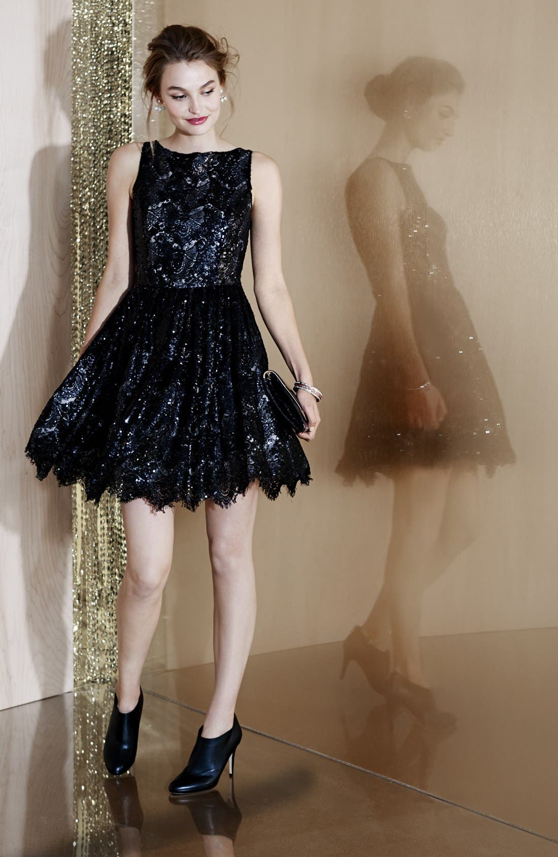 'Sabrina' Sequin Fit & Flare Dress,                             Alternate thumbnail 7, color,