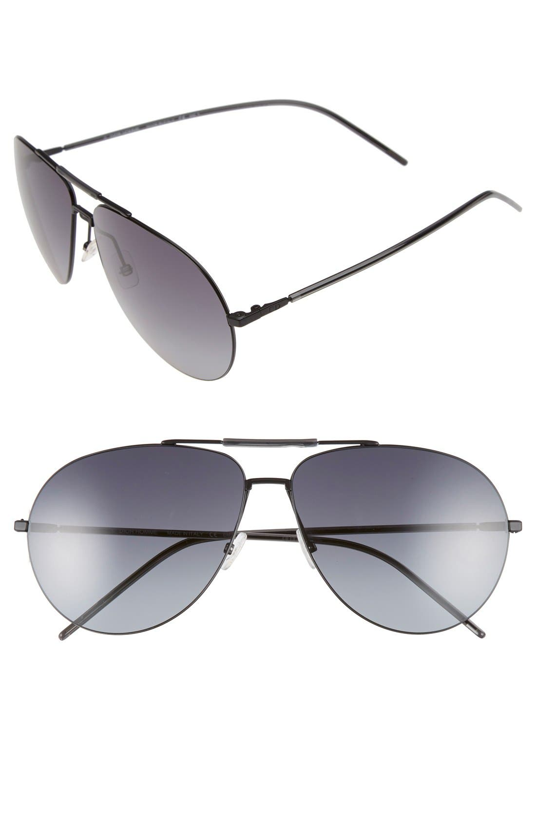 62mm Aviator Sunglasses,                             Main thumbnail 1, color,                             Black Grey/ Grey