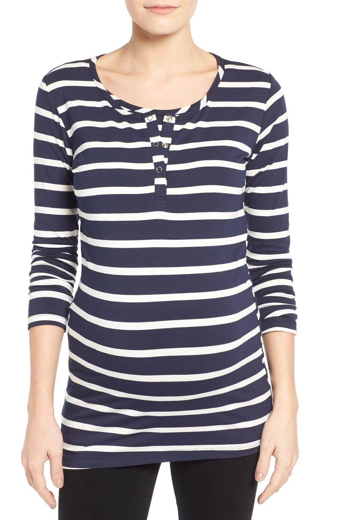 'Wendy' Nursing Top,                         Main,                         color, Uneven Navy Stripe