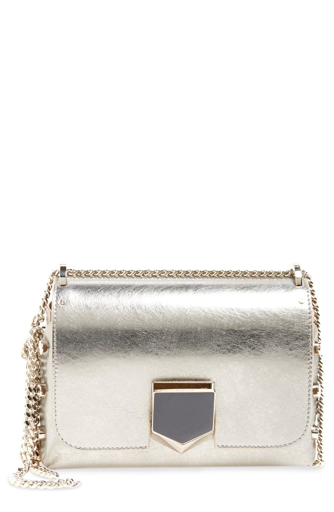 'Lockett Petite' Metallic Leather Shoulder Bag,                             Main thumbnail 1, color,                             Vintage Silver