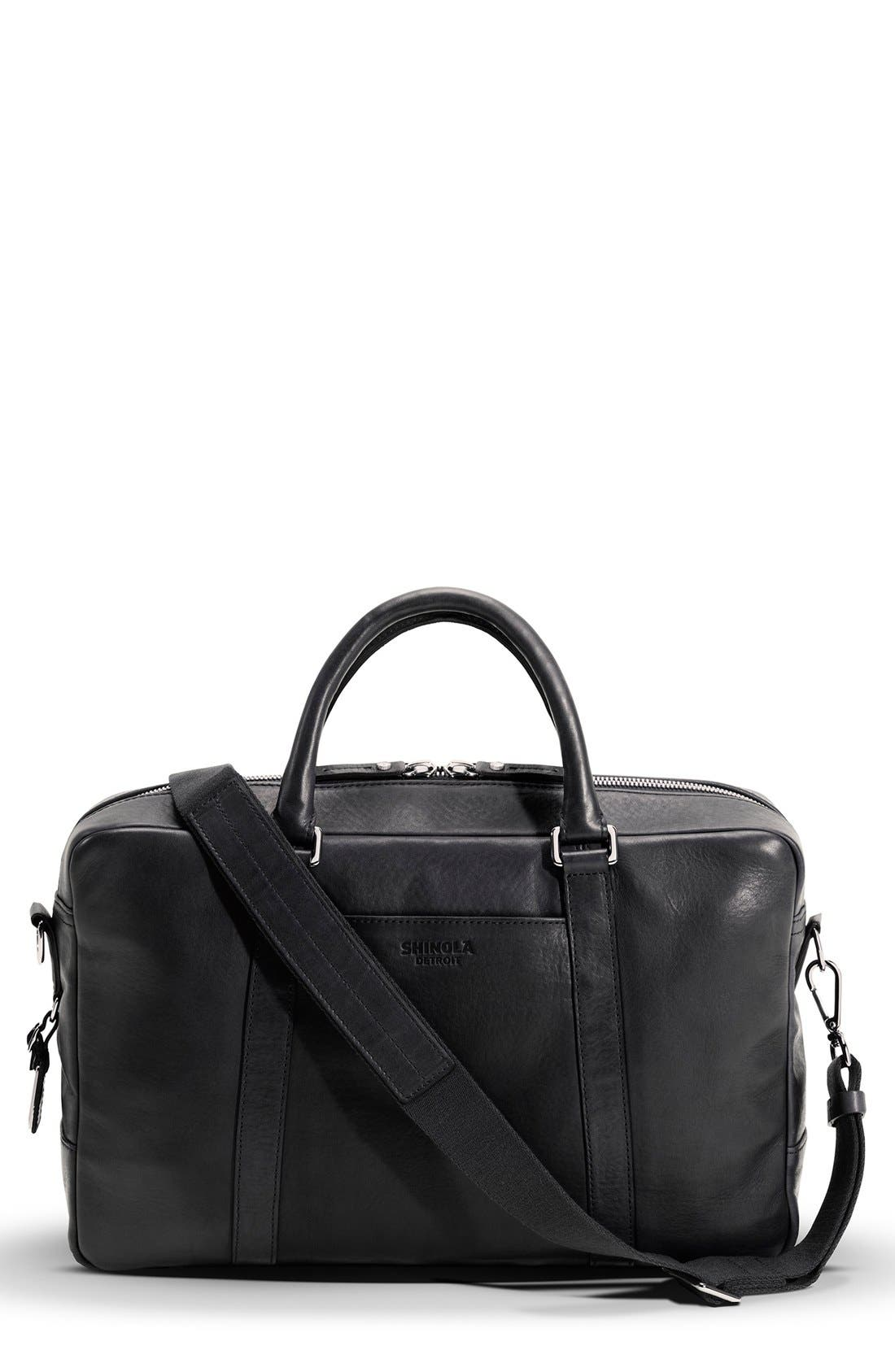 Signature Leather Slim Briefcase,                             Main thumbnail 1, color,                             Black