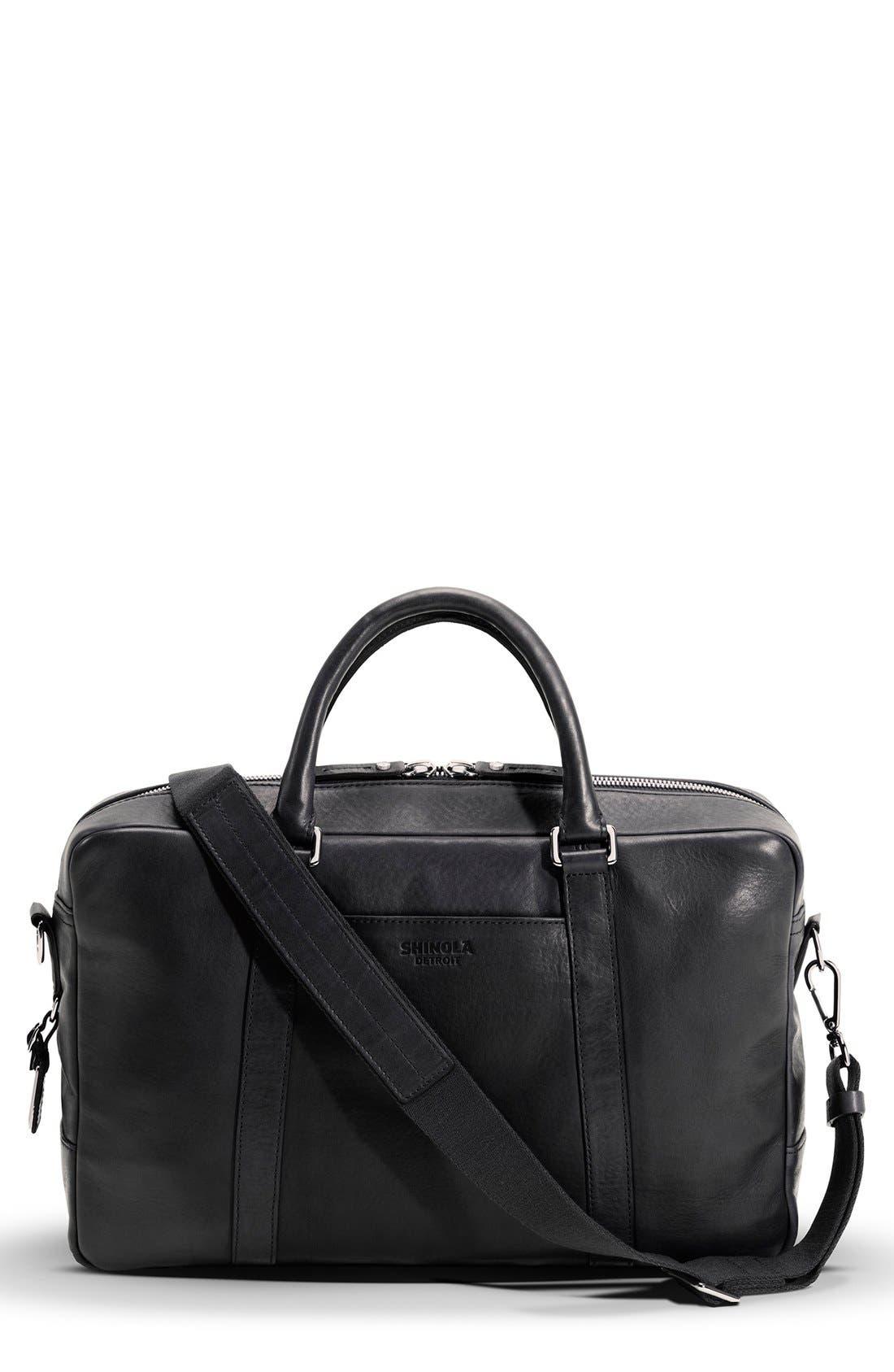 Signature Leather Slim Briefcase,                         Main,                         color, Black