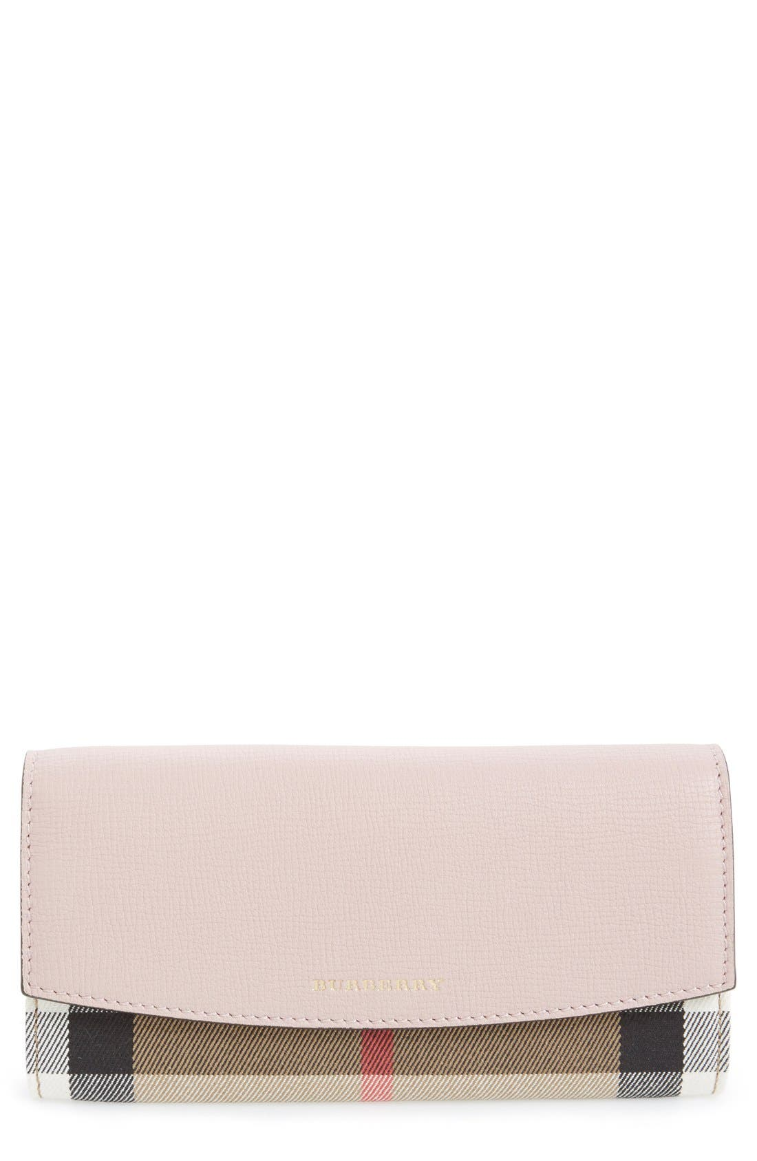 'Porter - Check' Continental Wallet,                             Main thumbnail 1, color,                             Pale Orchid