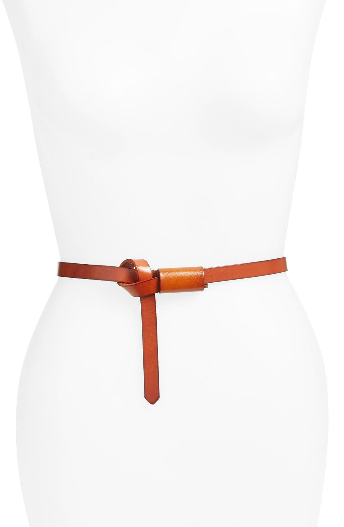 ELISE M. 'Lasso Western' Skinny Belt in Cognac