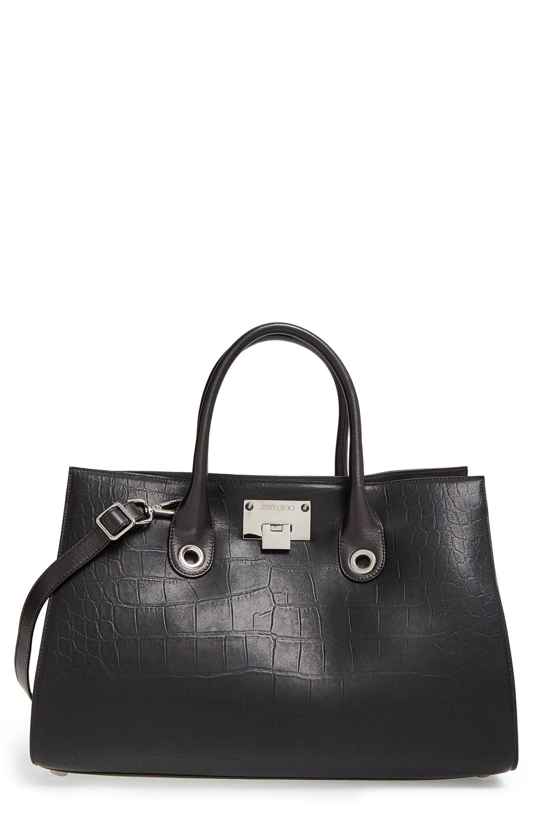 'Riley' Leather Tote,                             Main thumbnail 1, color,                             Black