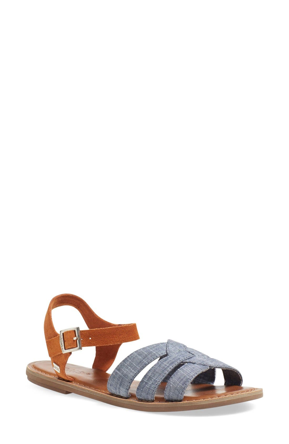 Alternate Image 1 Selected - TOMS 'Zoe' Chambray Flat Quarter Strap Sandal (Women)