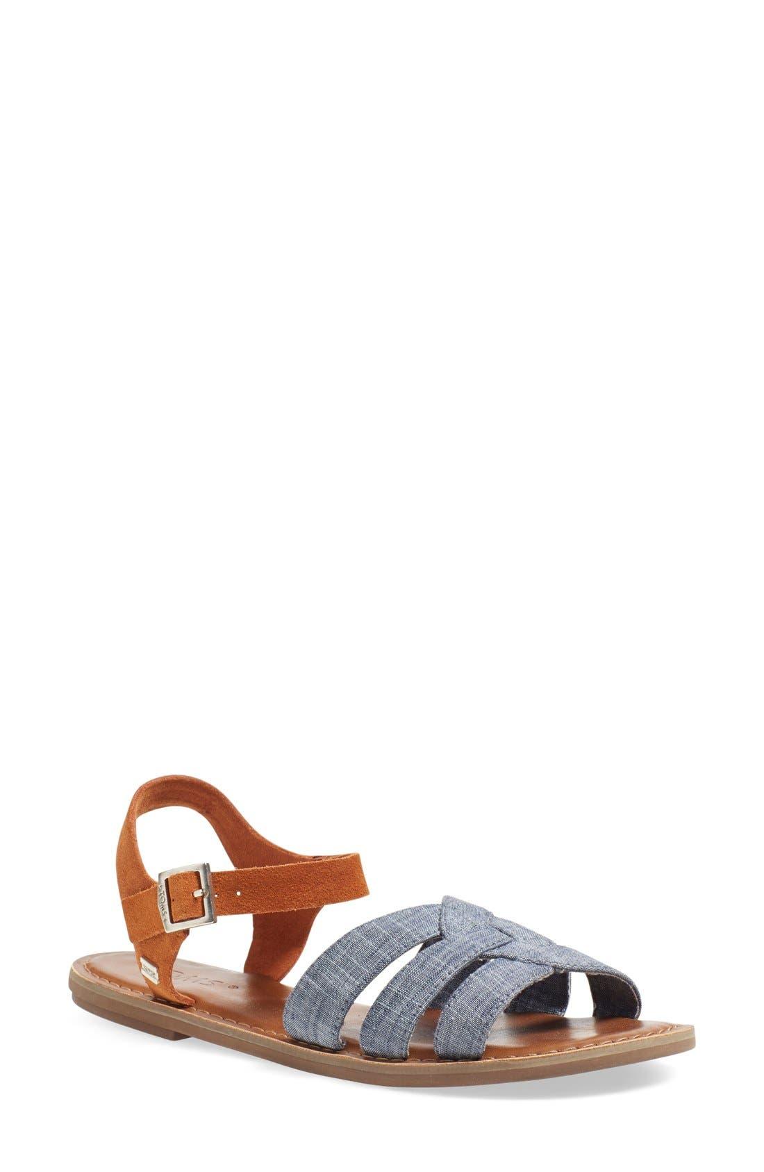 Main Image - TOMS 'Zoe' Chambray Flat Quarter Strap Sandal (Women)