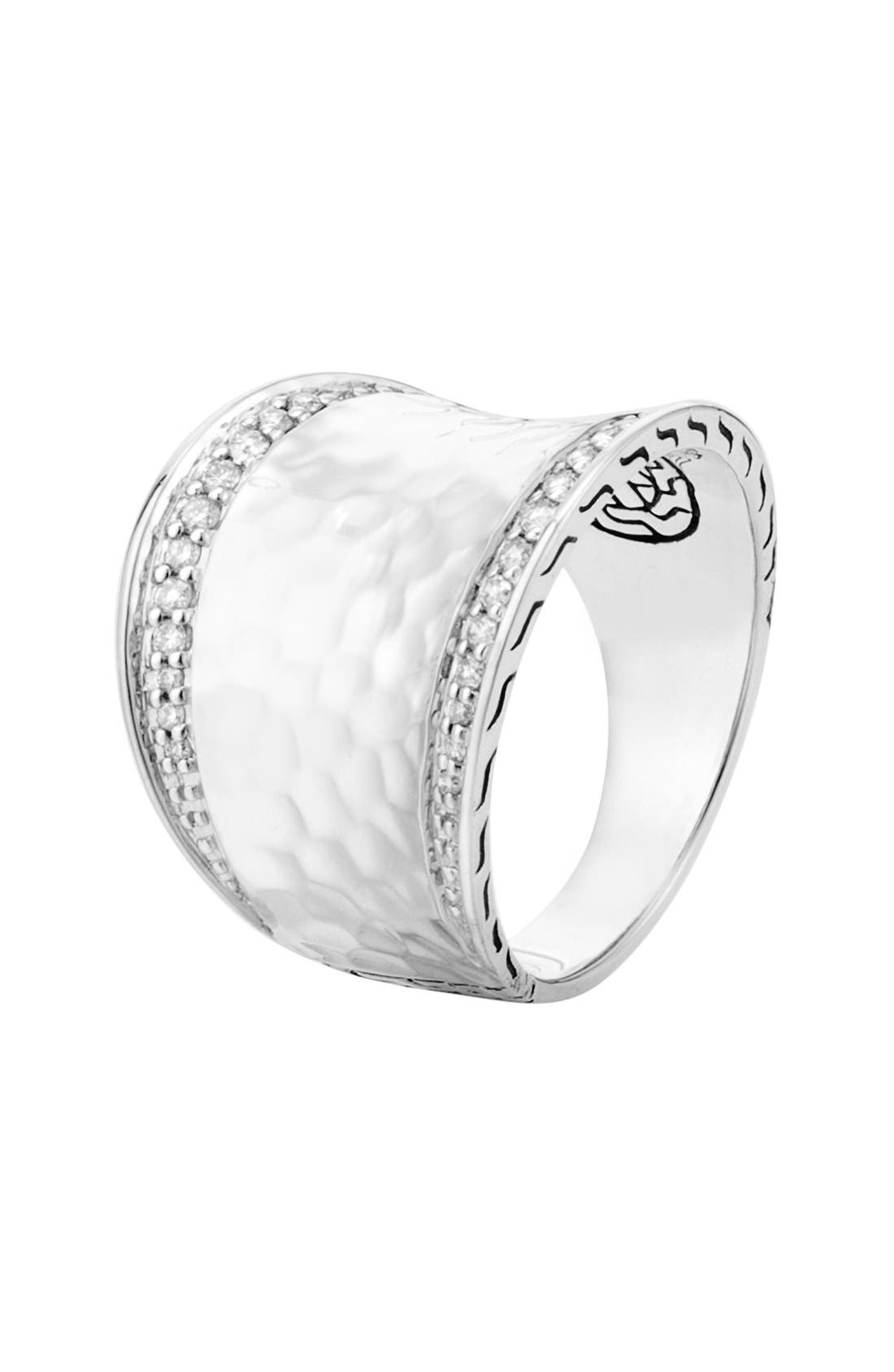 'Classic Chain' Small Saddle Ring,                             Main thumbnail 1, color,                             Silver