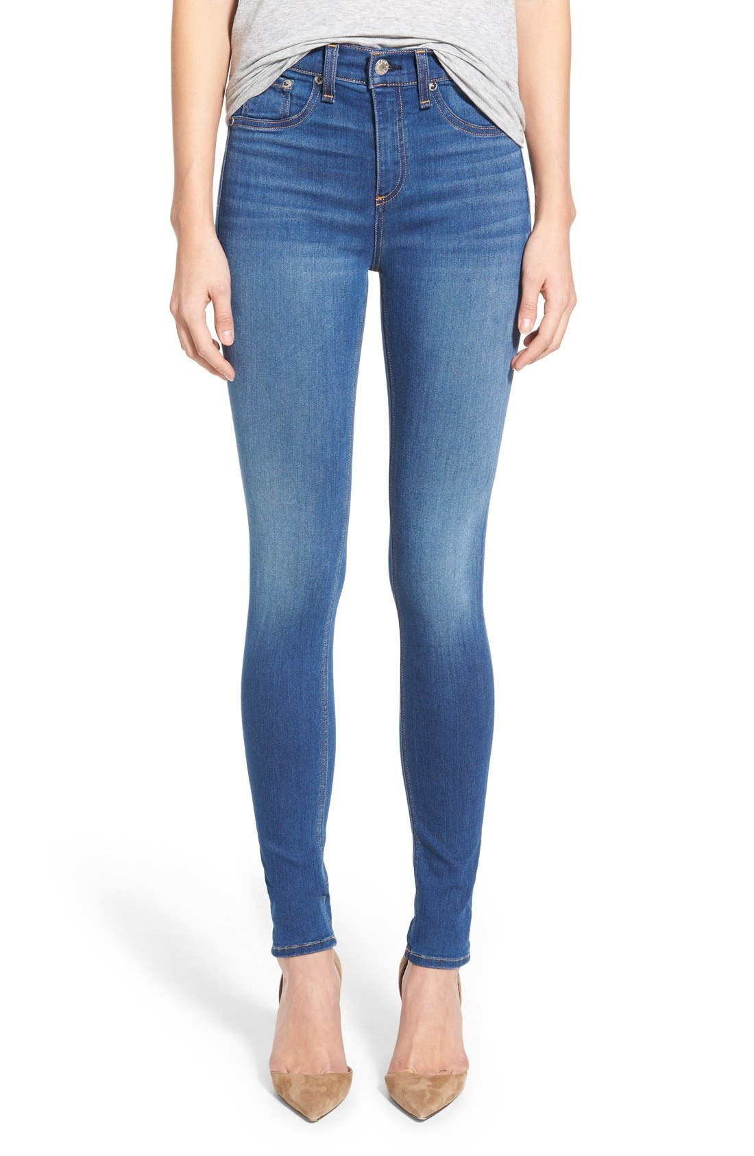 Alternate Image 1 Selected - rag & bone/JEAN High Rise Skinny Jeans (Houston)
