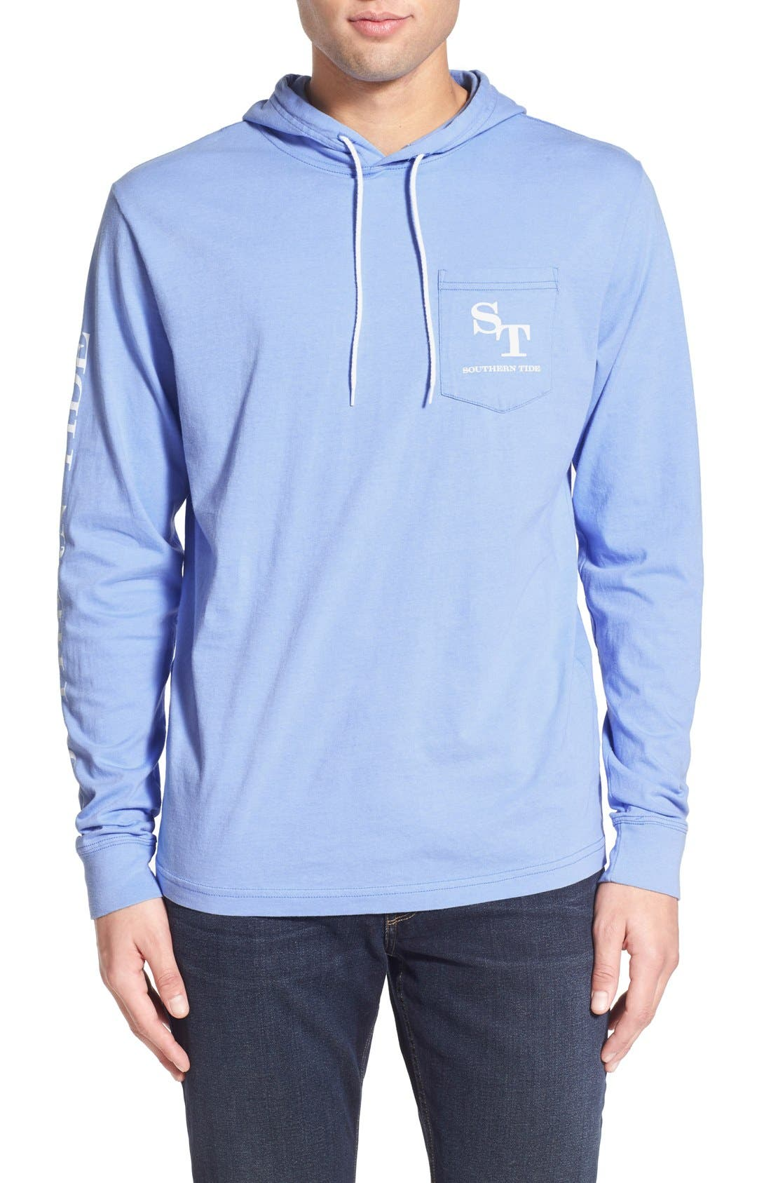 Graphic Hooded Long Sleeve T-Shirt,                             Main thumbnail 1, color,                             Sail Blue