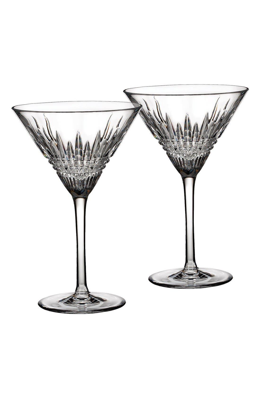 'Lismore Diamond' Lead Crystal Martini Glasses,                             Main thumbnail 1, color,                             Clear