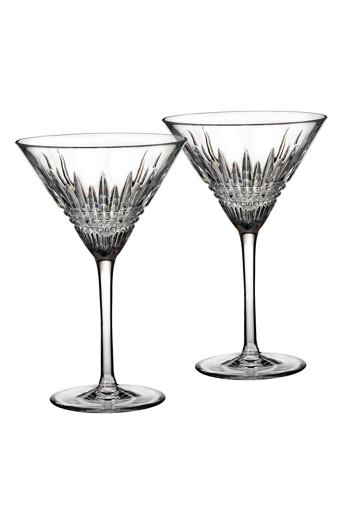 'Lismore Diamond' Lead Crystal Martini Glasses,                         Main,                         color, Clear