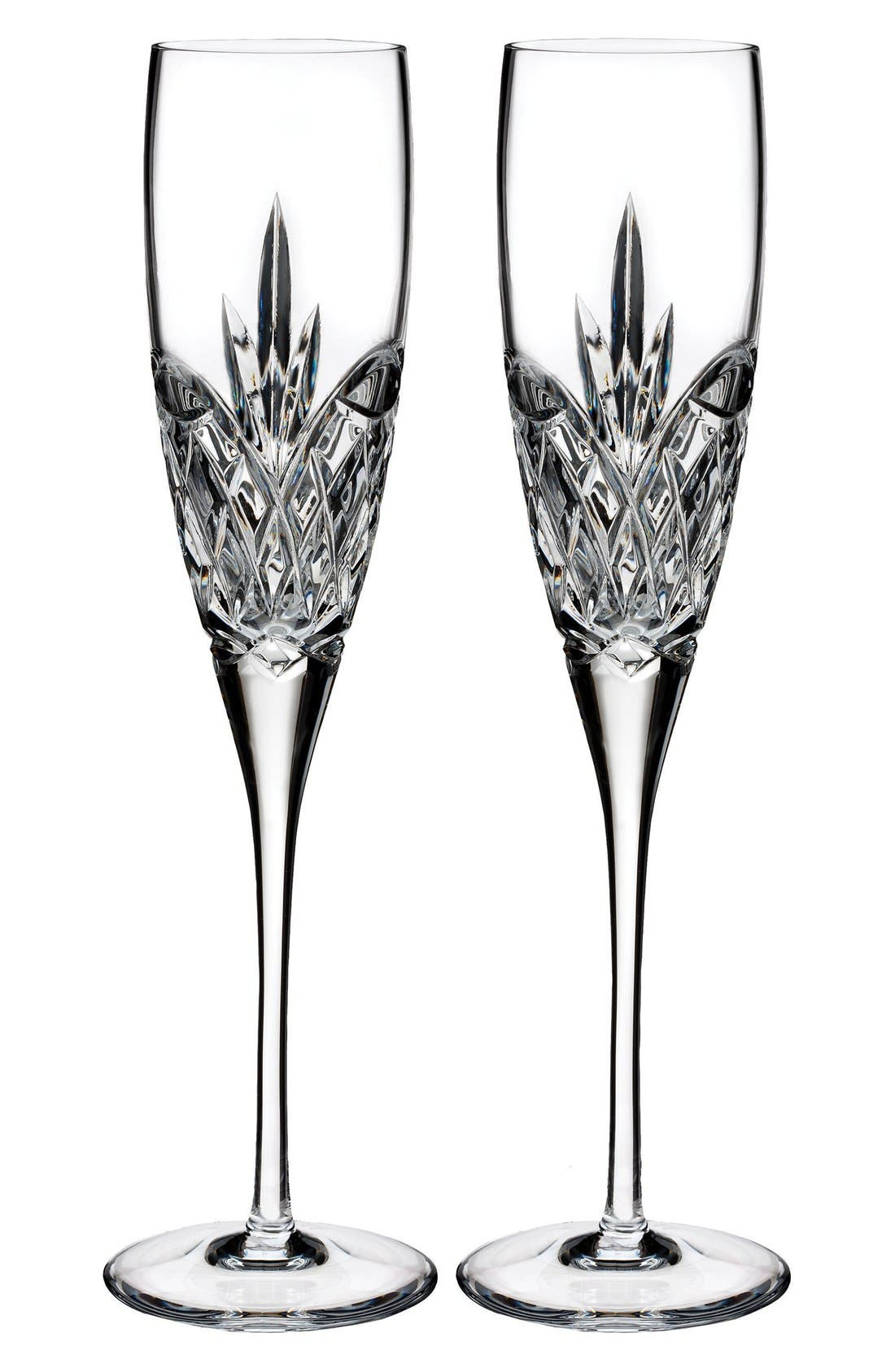 'Forever' Lead Crystal Champagne Flutes,                             Main thumbnail 1, color,                             Clear
