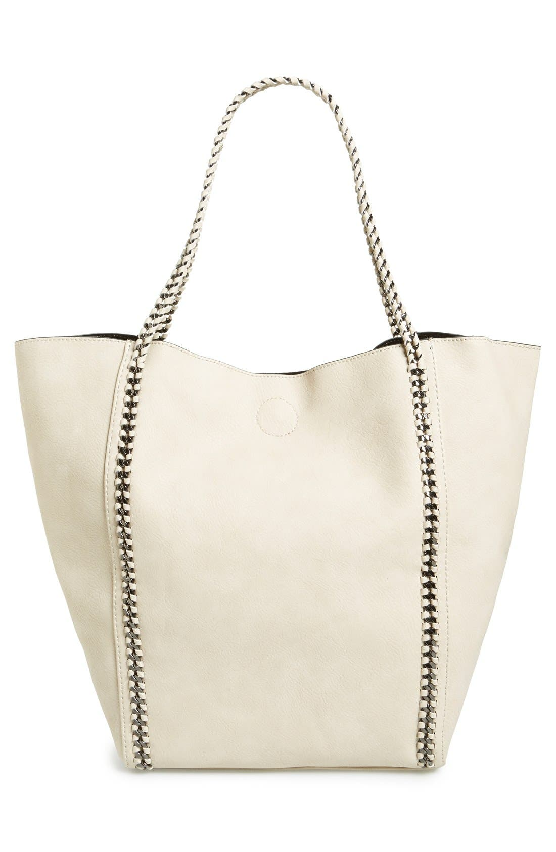 Chain Faux Leather Tote,                             Alternate thumbnail 3, color,                             Tan Greige