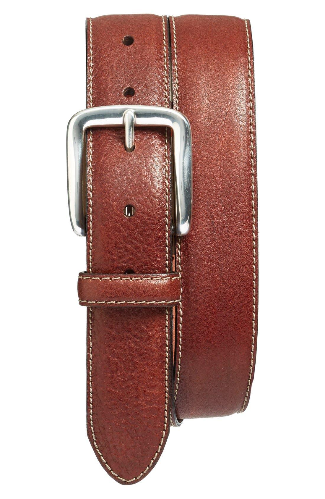 Washed Leather Belt,                         Main,                         color, Dark Brown