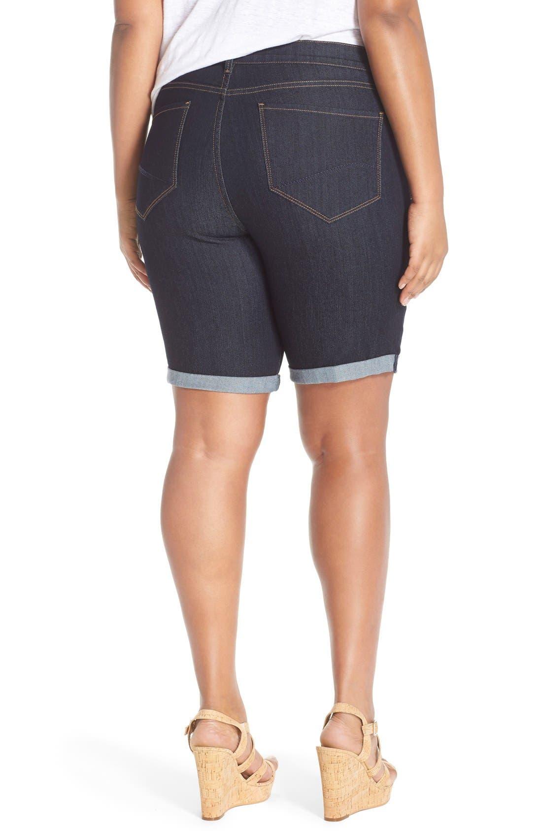 Alternate Image 2  - NYDJ 'Briella' Stretch Roll Cuff Denim Shorts (Dark) (Plus Size)