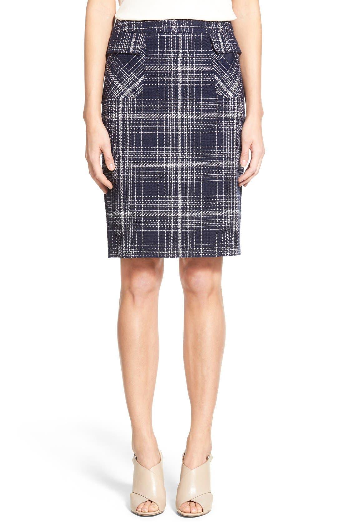 Flap Pocket Tweed Pencil Skirt,                         Main,                         color, Navy Tweed