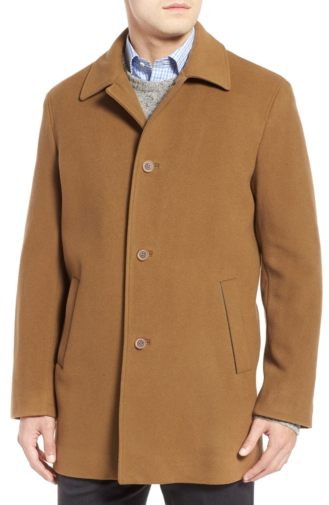 Italian Wool Blend Overcoat,                             Alternate thumbnail 4, color,                             Camel