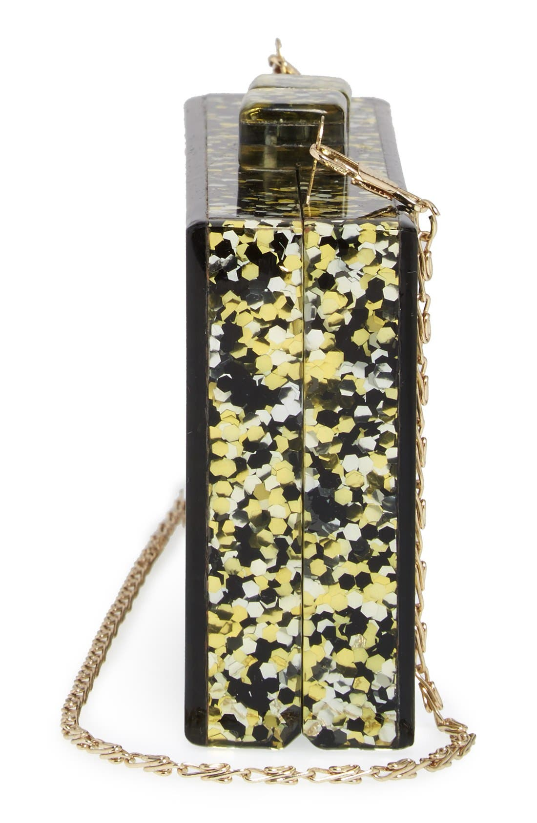 Couture Box Clutch,                             Alternate thumbnail 5, color,                             Black/ Gold