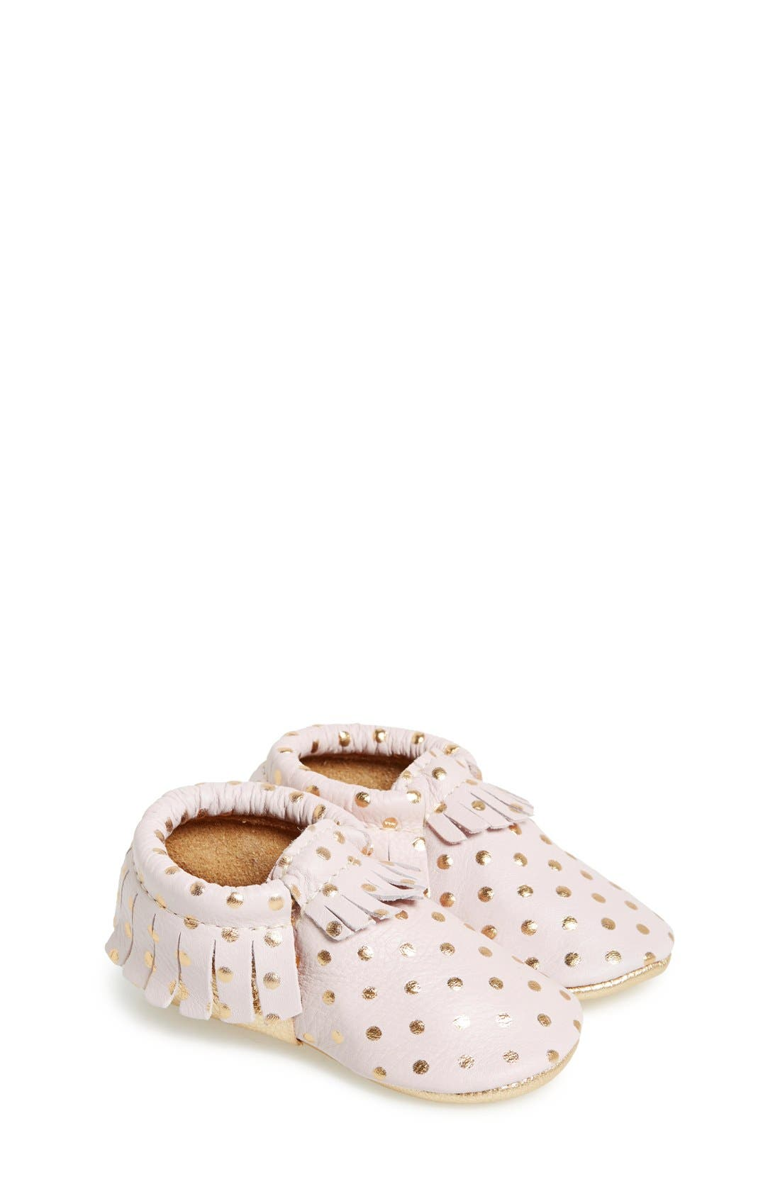 Leather Moccasin,                         Main,                         color, Heirloom Blush And Gold