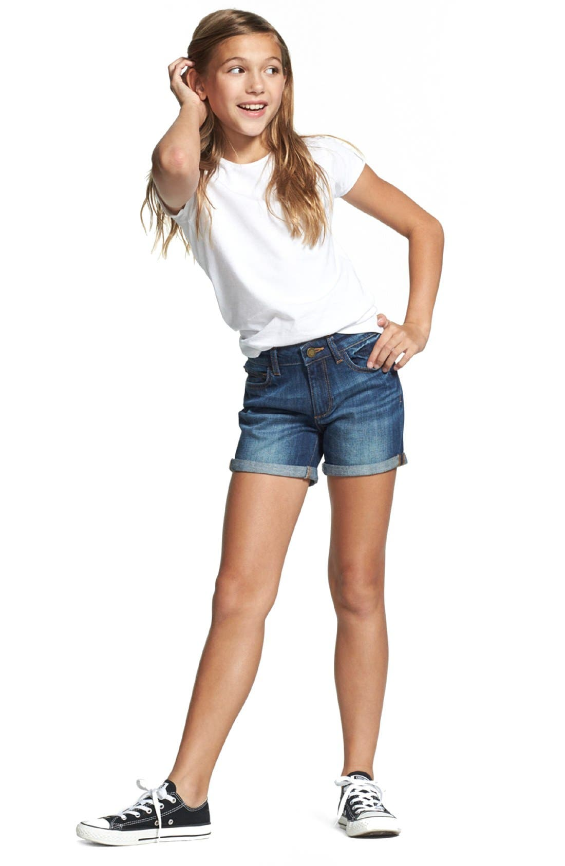 'Piper' Stretch Denim Shorts,                         Main,                         color, Sea-Lion