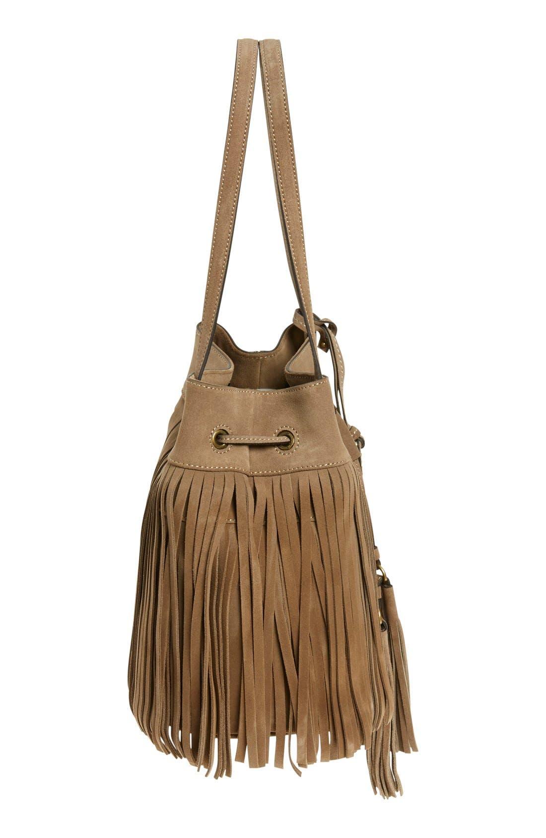 'Heidi' Fringe Suede Bucket Bag,                             Alternate thumbnail 5, color,                             Grey