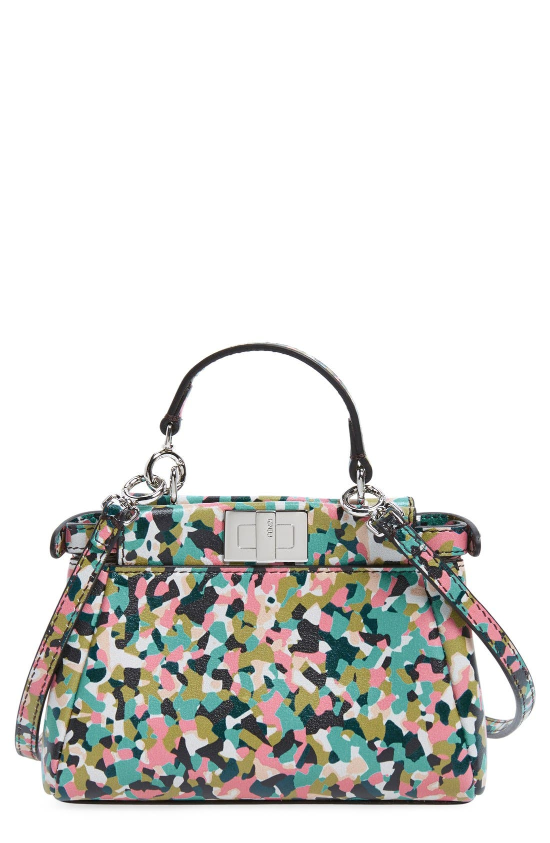 FENDI Micro Peekaboo - Granite Leather Bag