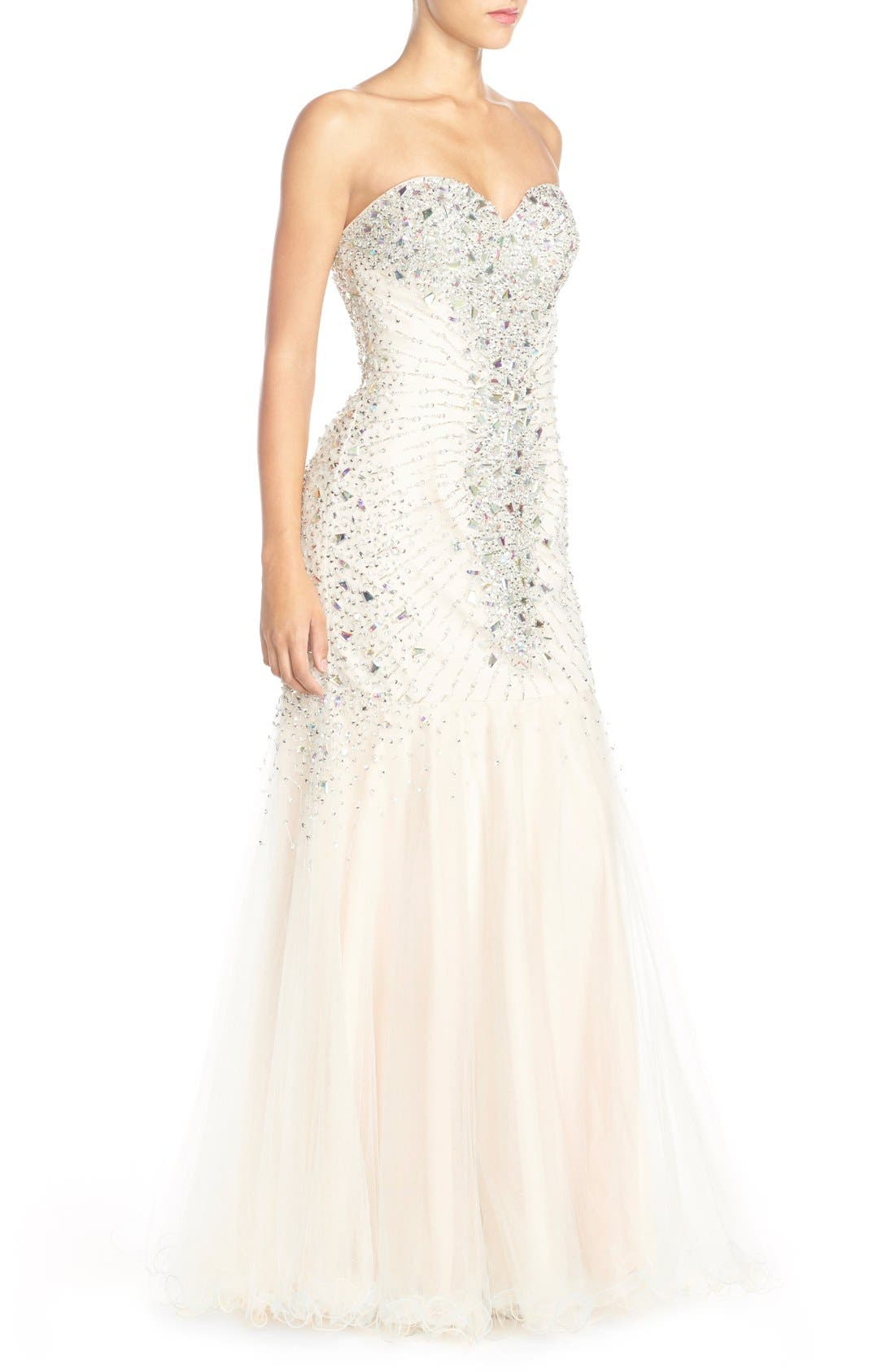 Alternate Image 2  - Glamour by Terani Couture Embellished Mesh Mermaid Gown