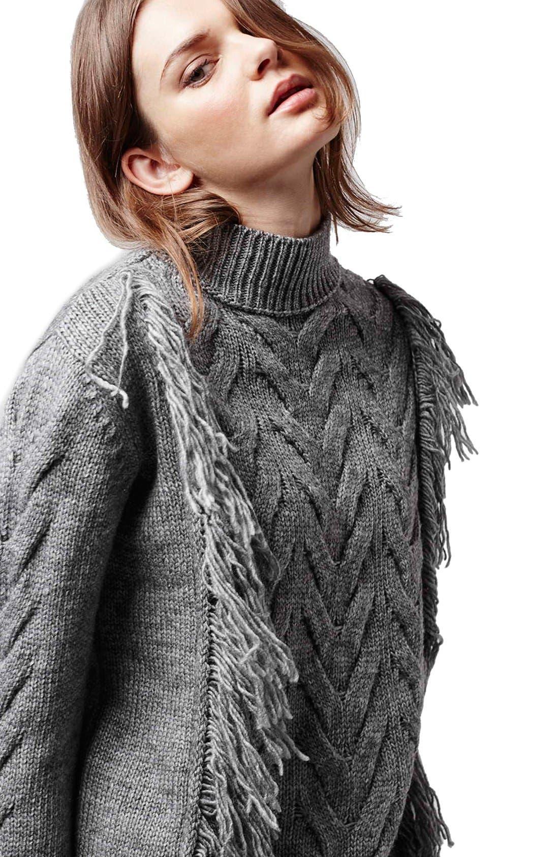 Alternate Image 5  - Topshop Fringe Cable Knit Sweater