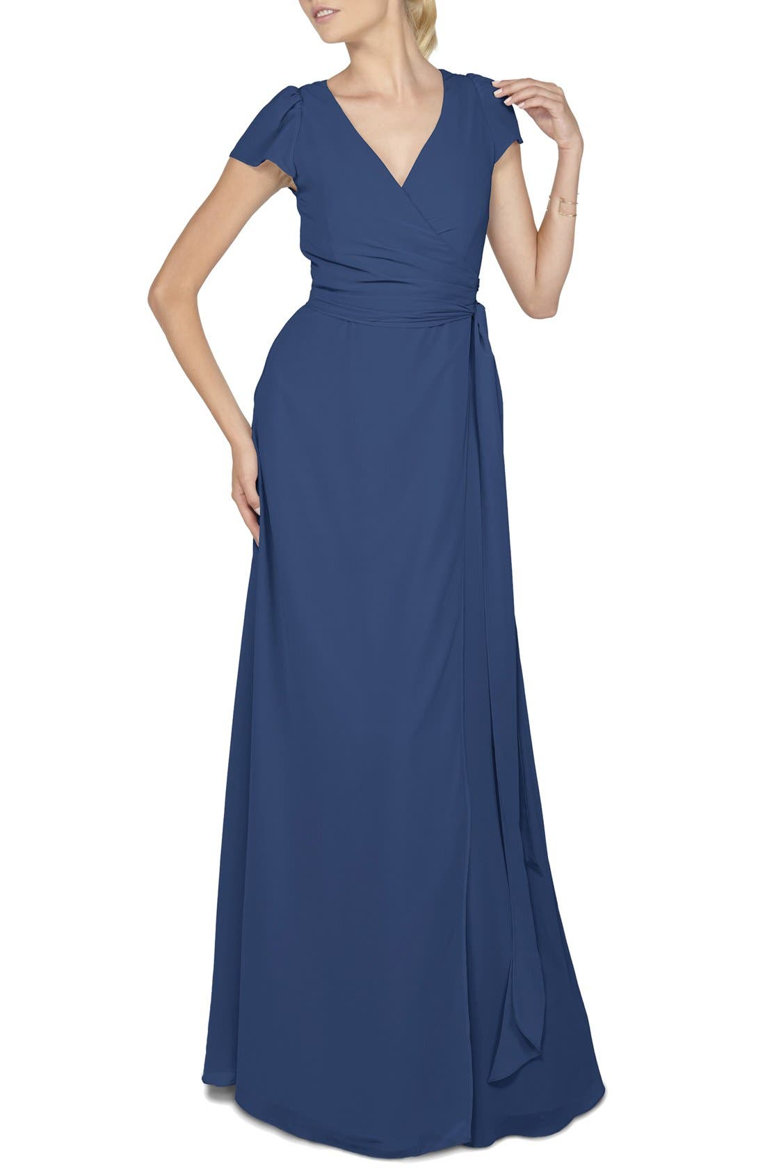 Aurele Cap Sleeve Chiffon Wrap Gown,                         Main,                         color, Tangled Up In Blue