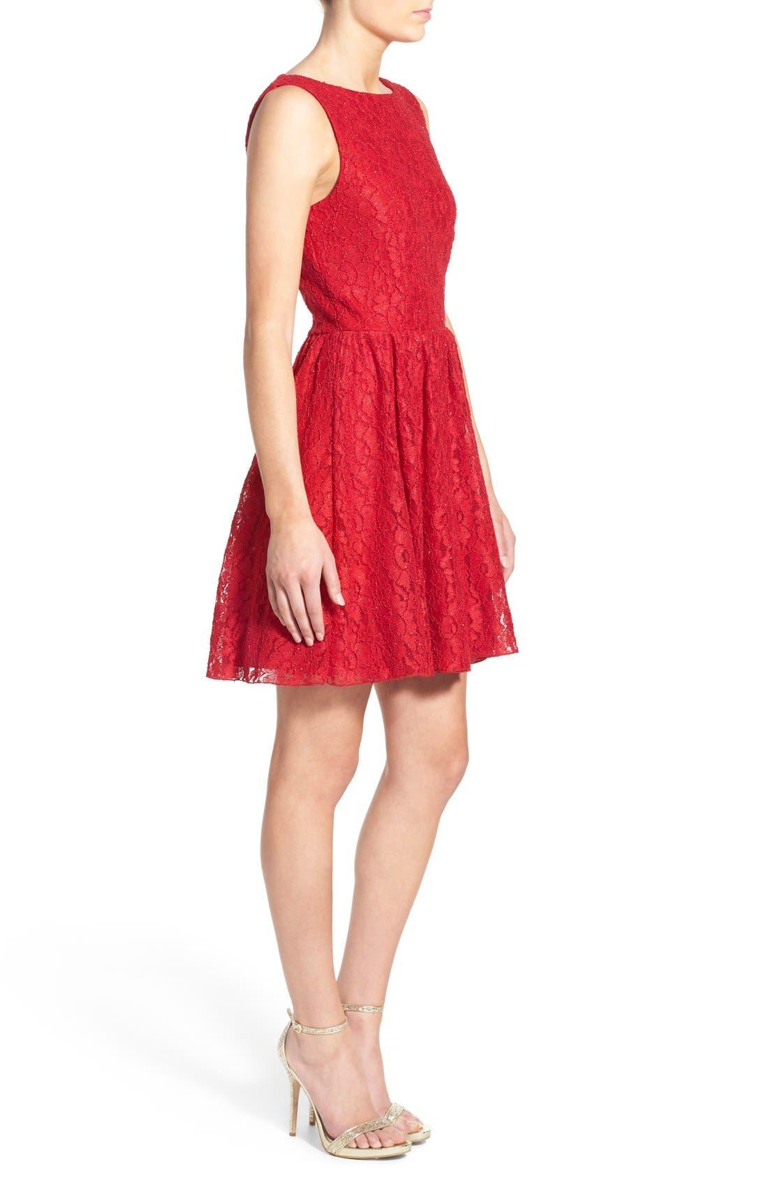 Alternate Image 3  - Speechless Glitter Lace Skater Dress
