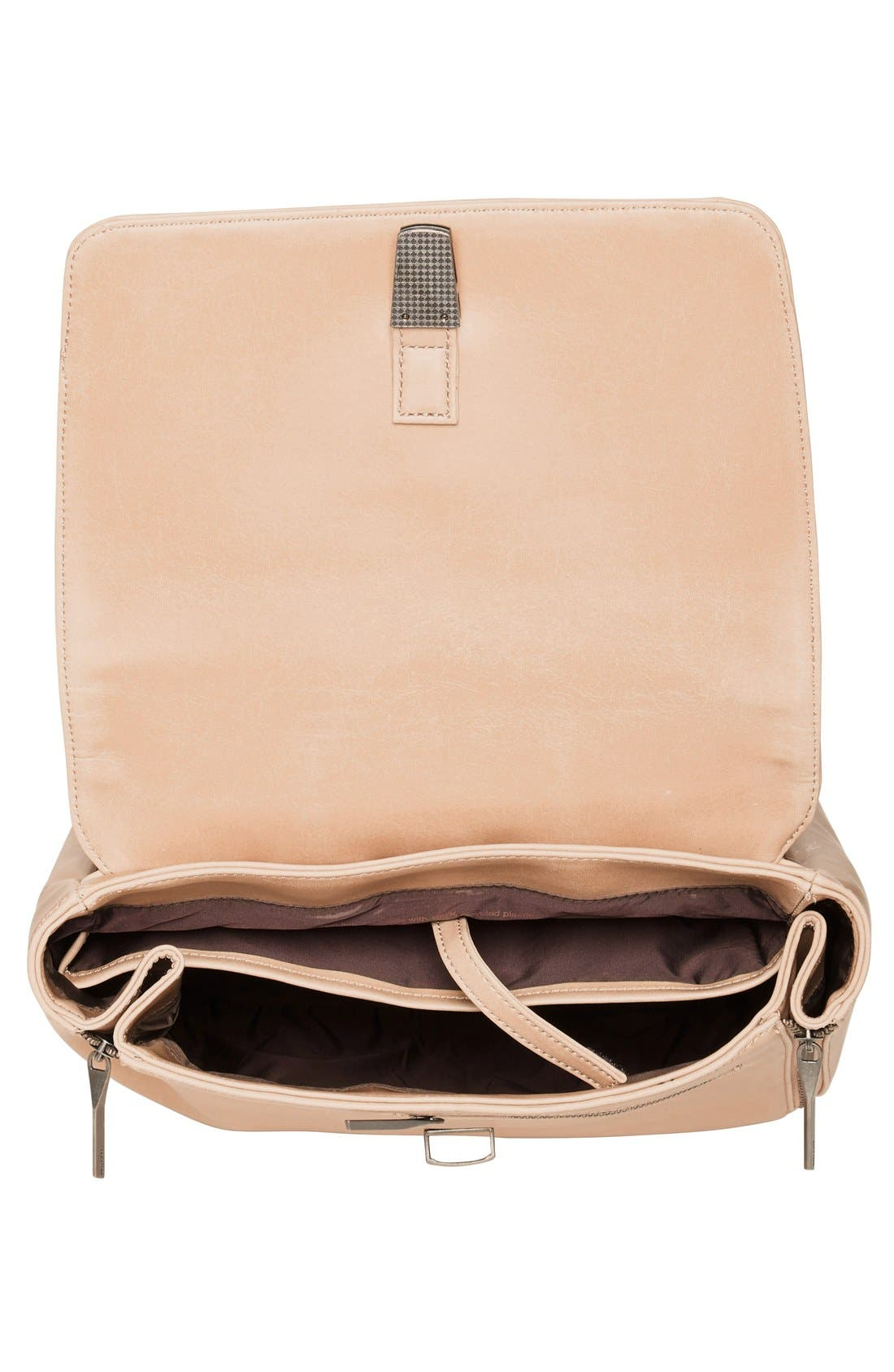 'Fabi' Faux Leather Laptop Backpack,                             Alternate thumbnail 4, color,                             Cardamom