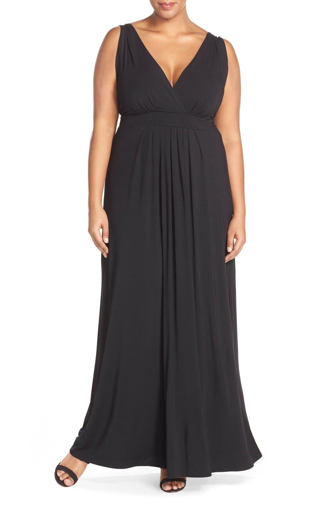 Chloe Empire Waist Maxi Dress,                             Main thumbnail 1, color,                             Black