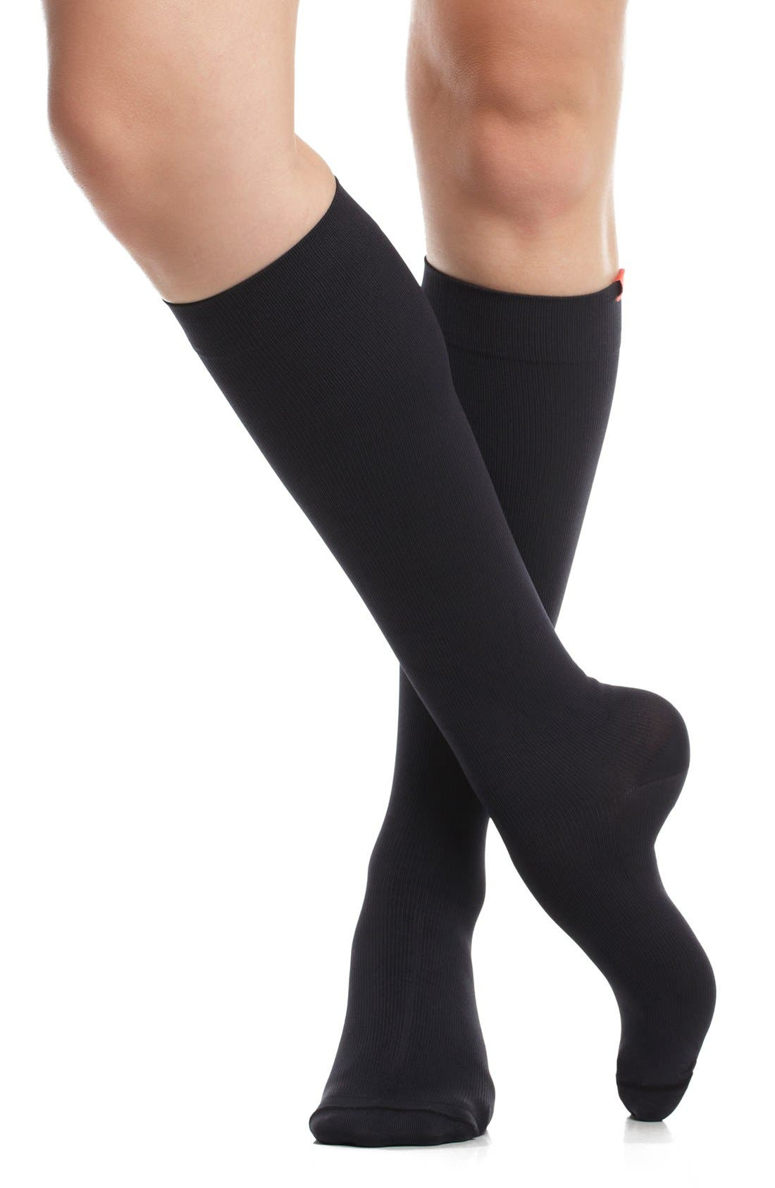 Solid Graduated Compression Trouser Socks,                             Alternate thumbnail 2, color,                             Black