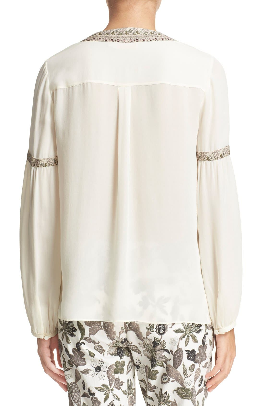 Alternate Image 2  - Tory Burch V-Neck Silk Peasant Top