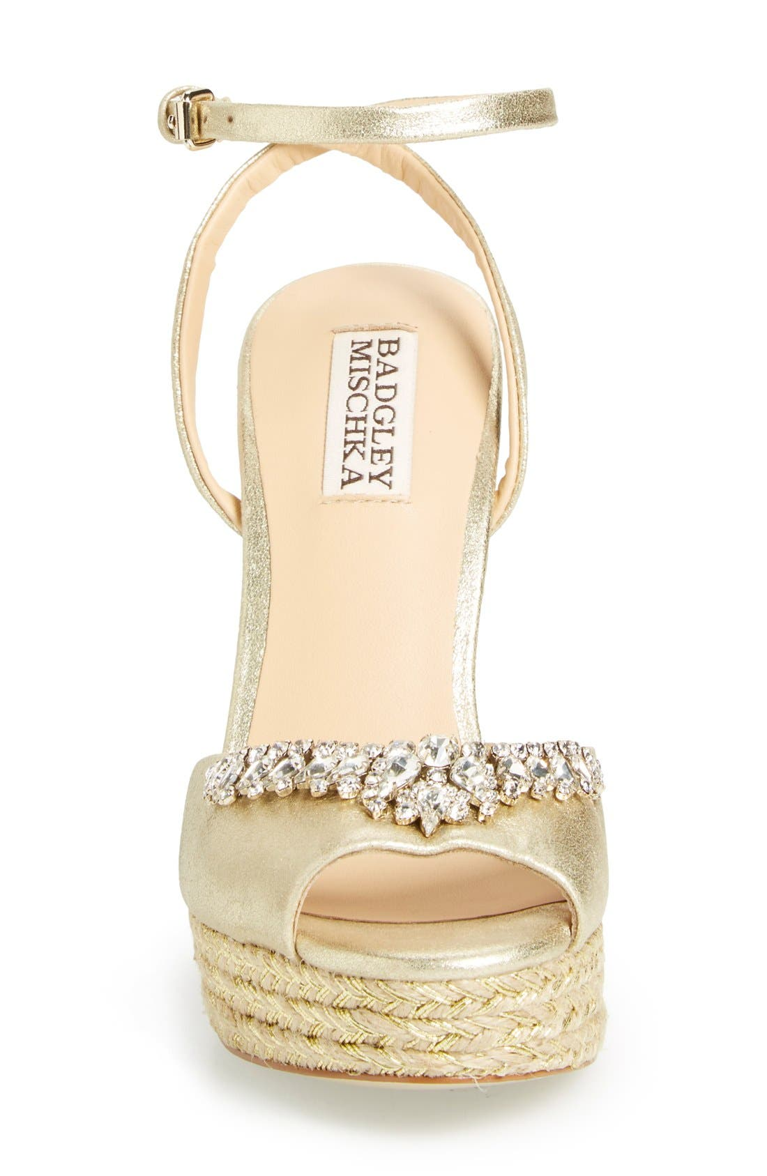 'Annabel' Crystal Embellished Wedge,                             Alternate thumbnail 3, color,                             Gold Suede