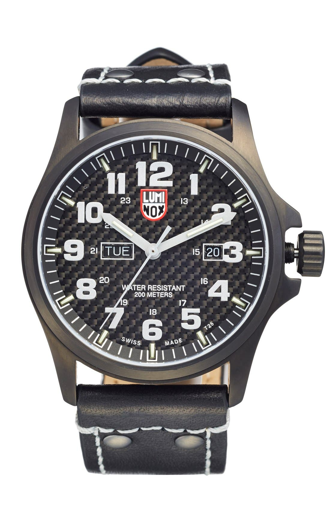 Luminox 'Land - Atacama Field' Leather Strap Watch, 45mm