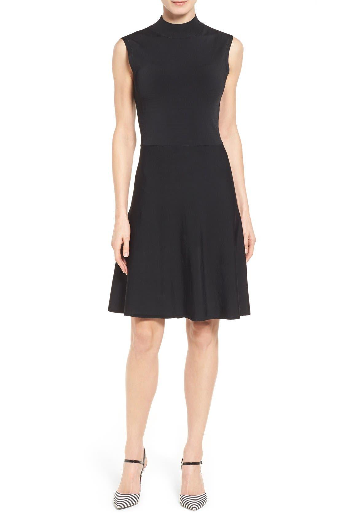 Alternate Image 1 Selected - Halogen® Mock Neck A-Line Dress (Regular & Petite)