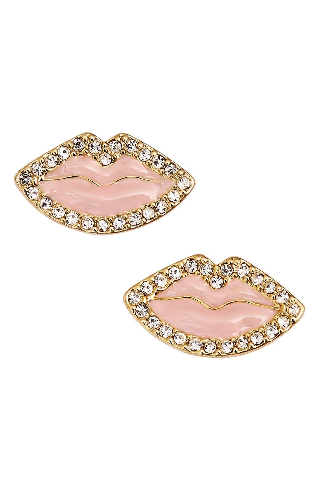 'love list' lip stud earrings,                         Main,                         color, Light Pink