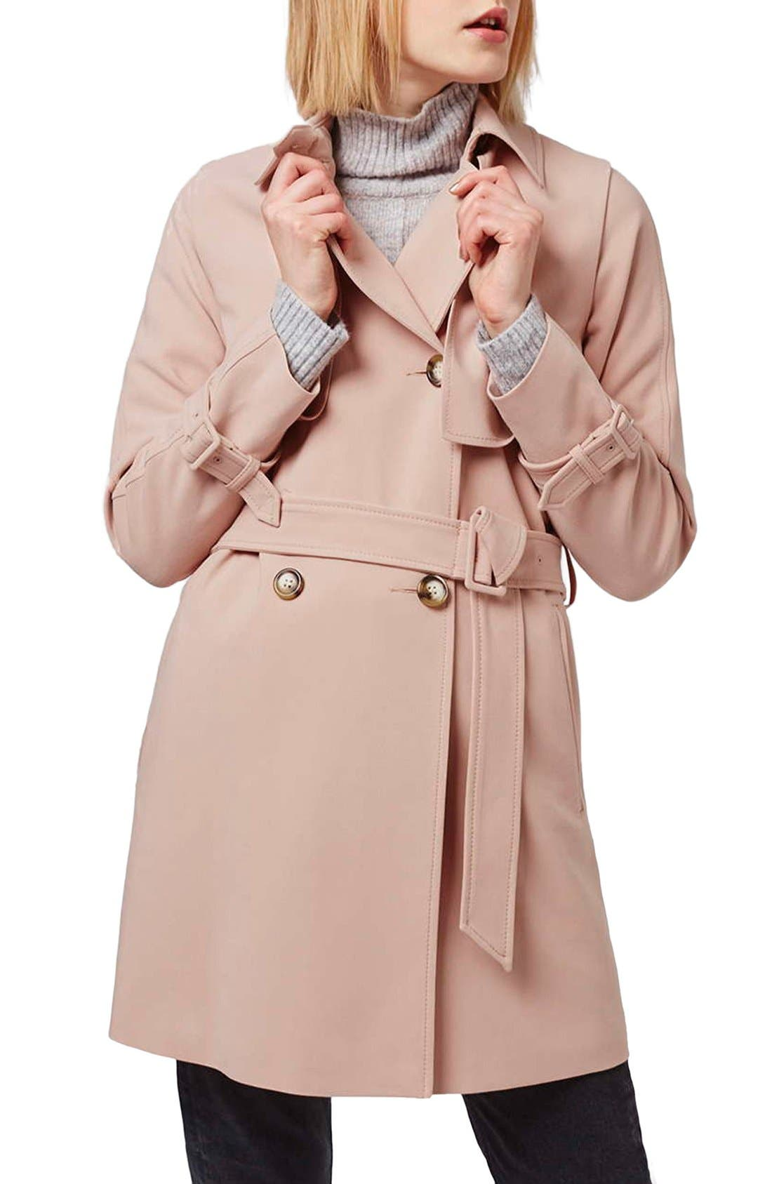Tailored Double Breasted Coat,                             Main thumbnail 1, color,                             Light Pink
