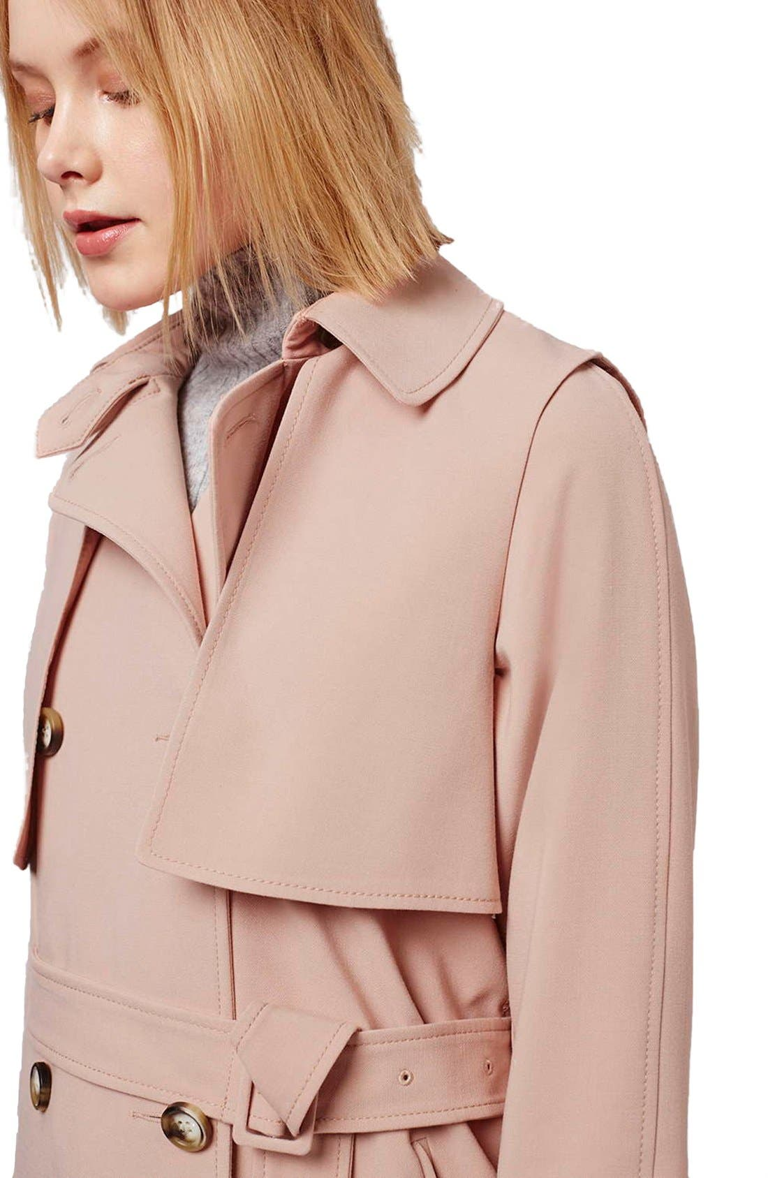 Tailored Double Breasted Coat,                             Alternate thumbnail 4, color,                             Light Pink