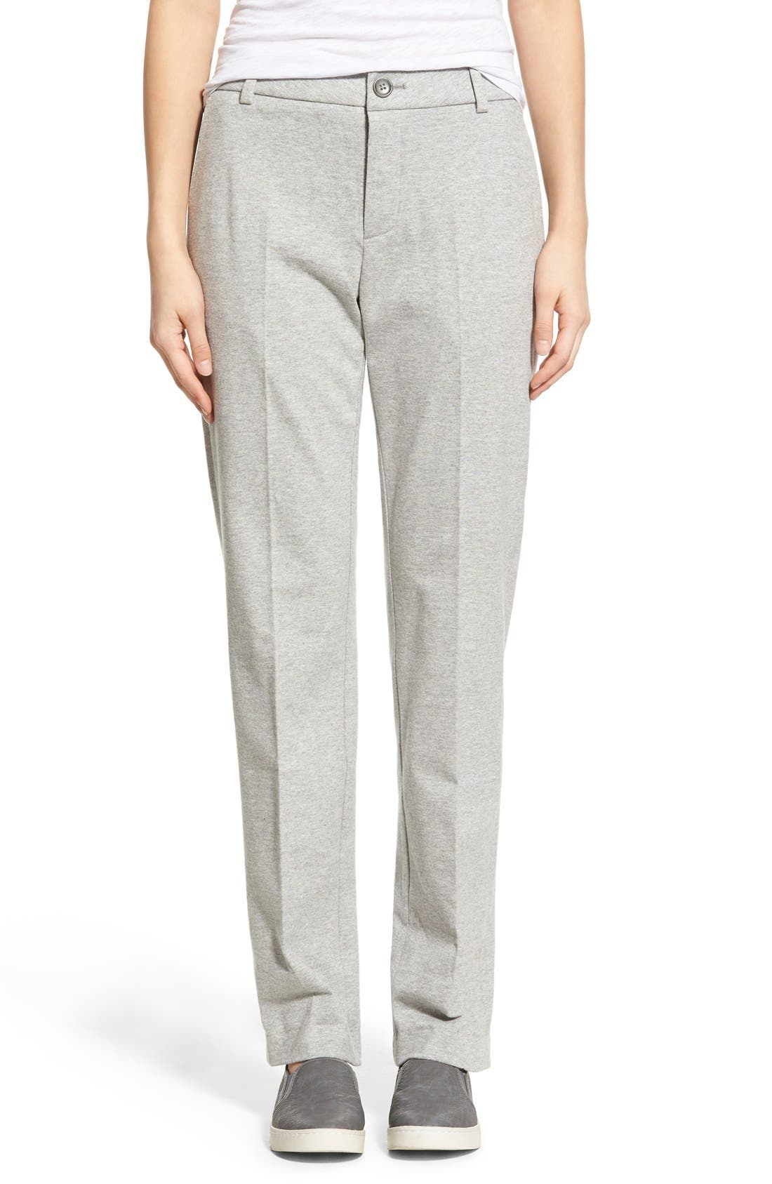 Cotton Jersey Trousers,                         Main,                         color, Heather Grey